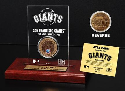 San Francisco Giants AT&T Park Infield Dirt Bronze Coin in a Etched Acrylic Desktop Display from The Highland Mint