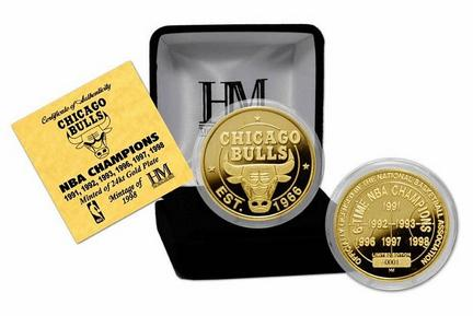 Chicago Bulls 6 Time NBA Champions 24KT Gold Coin from The Highland Mint