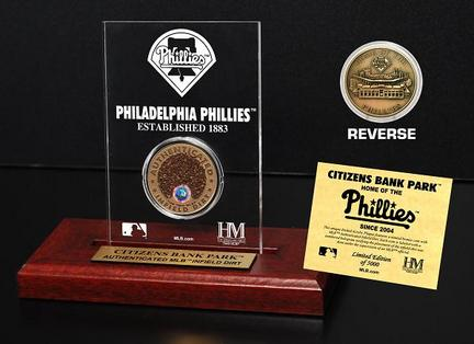 Philadelphia Phillies Citizens Bank Park Infield Dirt Bronze Coin in a Etched Acrylic Desktop Display from The Highland Mint