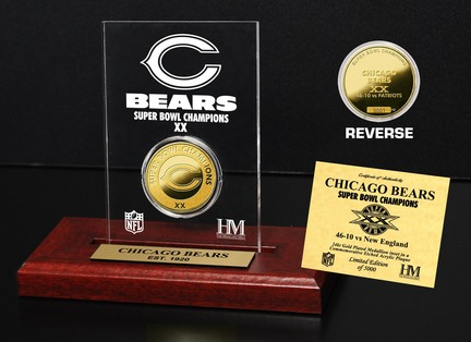 Chicago Bears Super Bowl XX Champions 24KT Gold Dual Coin in a Etched Acrylic Desktop Display from The Highland Mint