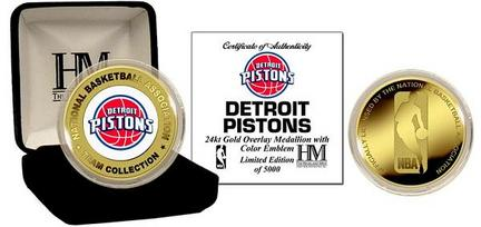 Detroit Pistons 24KT Gold and Color Team Logo Coin Collection from The Highland Mint