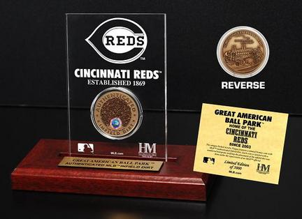 Cincinnati Reds Great American Ball Park Infield Dirt Bronze Coin in a Etched Acrylic Desktop Display from The Highland