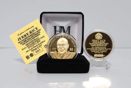 Jerry Rice 2010 Hall of Fame Induction 24KT Gold Coin from The Highland Mint