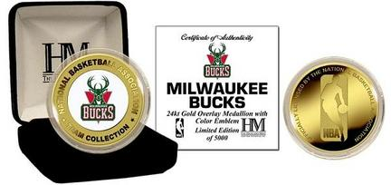 Milwaukee Bucks 24KT Gold and Color Team Logo Coin Collection from The Highland Mint