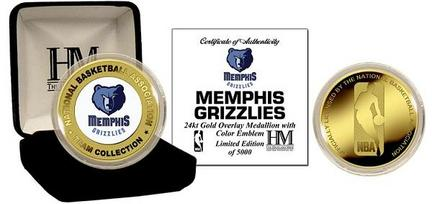 Memphis Grizzlies 24KT Gold and Color Team Logo Coin Collection from The Highland Mint