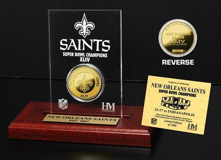 New Orleans Saints XLIV Super Bowl Champions 24KT Gold Coin in a Etched Acrylic Desktop Display from The Highland Mint