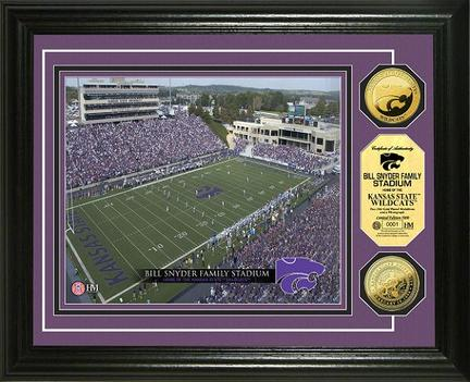 """Kansas State Wildcats Bill Snyder Family Stadium Framed 8"""" x 10"""" Photograph and Medallion Set from The Highlan"""