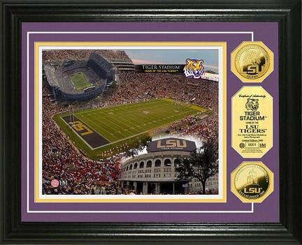 """Louisiana State (LSU) Tigers Stadium Framed 8"""" x 10"""" Photograph and Medallion Set from The Highland Mint"""
