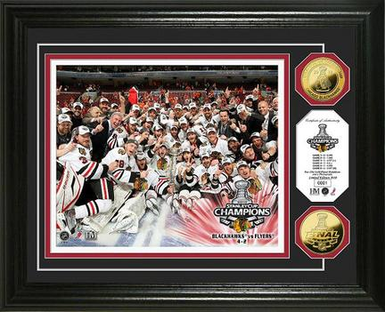 "Chicago Blackhawks 2010 Stanley Cup Champions Celebration Framed 8"""" x 10"""" Photograph and Medallion Set from The Highland Mint"" HLM-PHOTO3040K"
