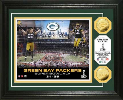 """Green Bay Packers Super Bowl XLV Champions Celebration Framed 8"""" x 10"""" Photograph and Medallion from The Highl"""