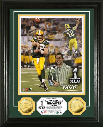 """Aaron Rodgers Green Bay Packers Super Bowl XLV MVP Framed 8"""" x 10"""" Photograph and Medallion from The Highland"""