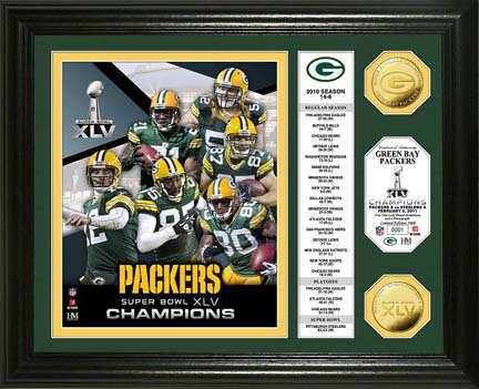 "Green Bay Packers Super Bowl XLV Champions Banner Framed 8"" x 10"" Photograph and Medallion from The Highland M"