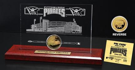 Pittsburgh Pirates PNC Park 24KT Gold Coin in a Etched Acrylic Desktop Display from The Highland Mint