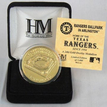 Rangers Ballpark 24KT Gold Commemorative Coin from The Highland Mint