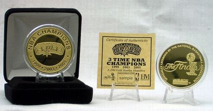 San Antonio Spurs 3 Time Champion 24KT Gold Coin from The Highland Mint