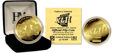 Super Bowl XLII 24kt Gold Flip Coin from The Highland Mint