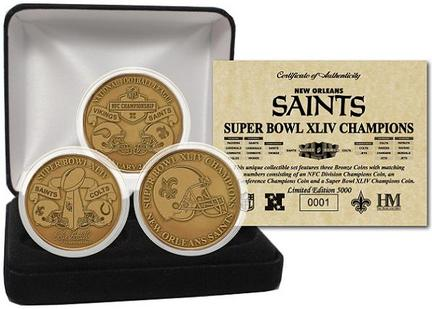 New Orleans Saints Super Bowl XLIV Champions Bronze 3 Coin Set from The Highland Mint