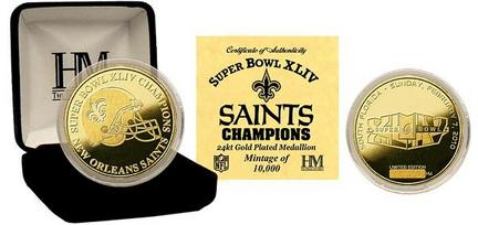 New Orleans Saints Super Bowl XLIV Champions 24KT Gold Coin from The Highland Mint