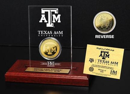 Texas A & M Aggies 24KT Gold Coin in an Etched Acrylic Desktop Display from The Highland Mint