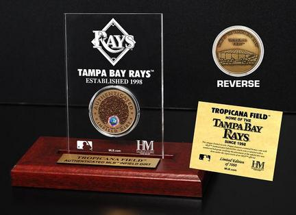 Tampa Bay Rays Tropicana Field Infield Dirt Bronze Coin in a Etched Acrylic Desktop Display from The Highland Mint