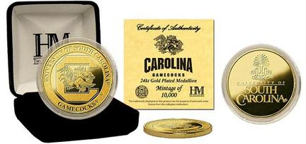 South Carolina Gamecocks 24KT Gold Commemorative Coin from The Highland Mint