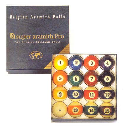 "2 1/4"" 6 oz. ""Super Aramith"" Professional Series Belgian Aramith Billiard Ball Set (16 Ball Set) from Imp"