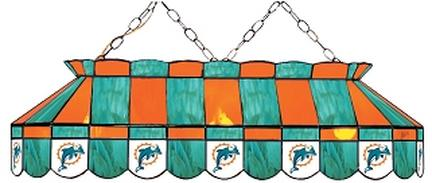 """Miami Dolphins NFL Licensed 40"""" Rectangular Stained Glass Lamp from Imperial International"""