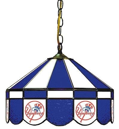 "New York Yankees MLB Licensed 16"" Diameter Stained Glass Lamp from Imperial International"