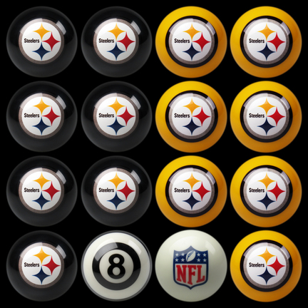 Pittsburgh Steelers NFL Home vs. Away Billiard Balls Full Set (16 Ball Set) by Imperial International