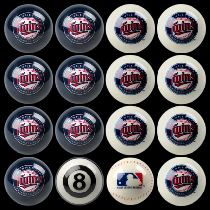Minnesota Twins MLB Home vs. Away Billiard Balls Full Set (16 Ball Set) by Imperial International IMP-50-2117