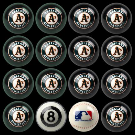 Oakland Athletics MLB Home vs. Away Billiard Balls Full Set (16 Ball Set) by Imperial International IMP-50-2118