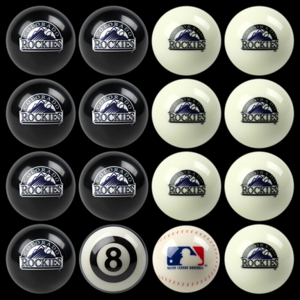 Colorado Rockies MLB Home vs. Away Billiard Balls Full Set (16 Ball Set) by Imperial International IMP-50-2123
