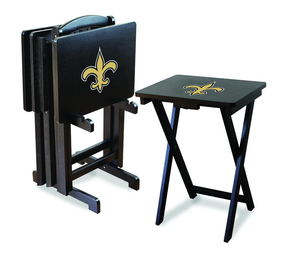 New Orleans Saints TV Trays with Stand from Imperial International (Set of 4)