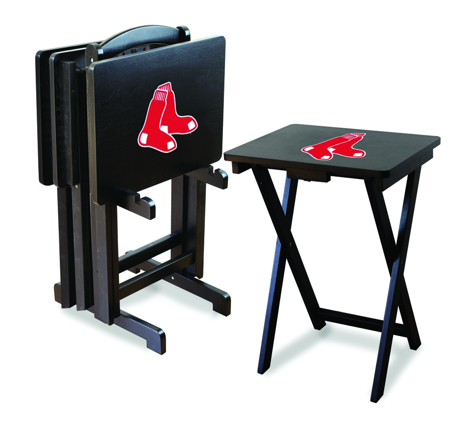 Boston Red Sox TV Trays with Stand from Imperial International (Set of 4)