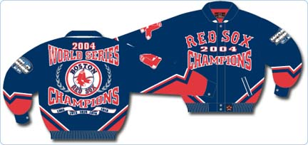 Boston Red Sox 2004 World Series Champions Wool Jacket With Leather Sleeves And Leather Logos From J. H. Design