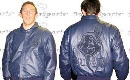 Cleveland Indians Navy on Navy Plonge Leather Jacket Non-Reversible With Leather Logos From J. H. Design