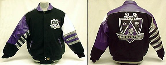 Los Angeles Kings Black Classic Wool With Leather Logos Jacket From J. H. Design