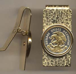 """Mexican 10 Centavo """"Eagle"""" Two Toned Coin Hinged Money Clip"""