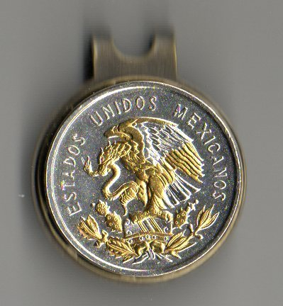Mexican 10 Centavo 'Eagle' Two Tone Coin Ball Marker