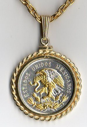 "Mexican 10 Centavo ""Eagle"" Two Tone Rope Bezel Coin on 18"" Chain"