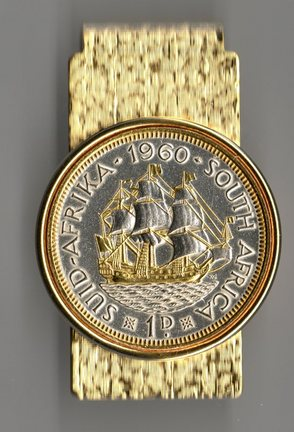 """South African Penny """"Sailing Ship"""" Two Tone Coin Hinge Money Clip"""