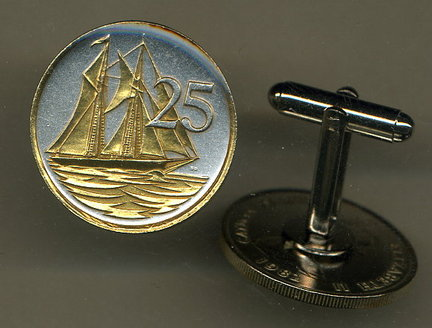 """Cayman Islands 25 Cent """"Sail Boat"""" Two Tone Coin Cuff Links - 1 Pair"""