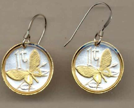 "Papua New Guinea 1 Toea ""Butterfly"" Two Tone Coin Earrings"