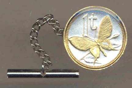 Papua New Guinea 1 Toea 'Butterfly' Two Tone Gold on Silver World Coin Tie Tack