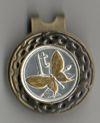 Papa New Guinea 1 Toea 'Butterfly' Two Tone Coin Ball Marker