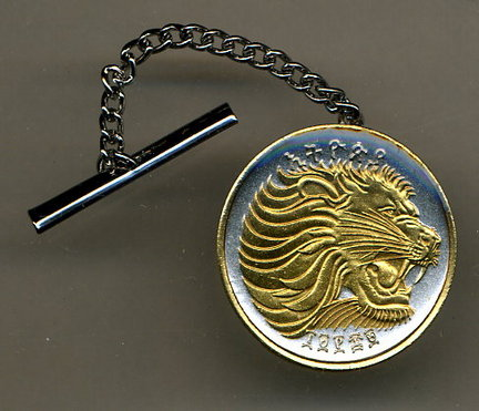 Ethiopia 25 Cent 'Lion' Two Tone Gold on Silver World Coin Tie Tack