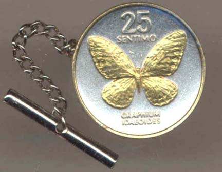 Philippines 25 Sentimos 'Butterfly' Two Tone Gold on Silver World Coin Tie Tack