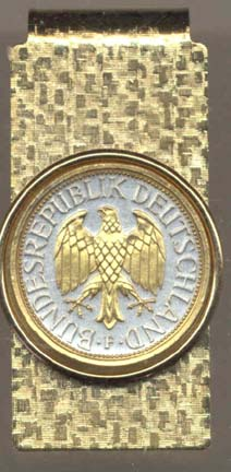 """German 1 Mark """"Eagle"""" Two Tone Gold on Silver World Coin Hinged Money Clip"""