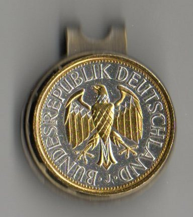 German 1 Mark 'Eagle' Two Tone Coin Ball Marker