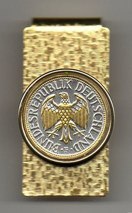 "German 1 Mark ""Eagle"" Two Tone Coin Hinge Money Clip"